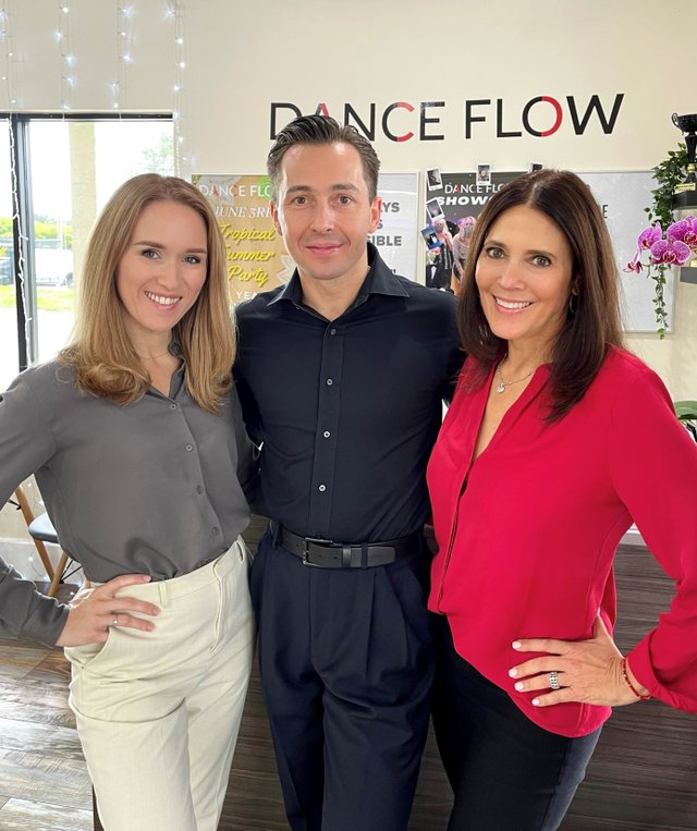 Dance Flow owners Ekaterina Skarlato and Aleksandr Skarlato with Amy Gottlieb.jpg