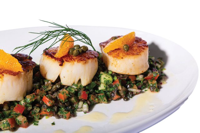 Seared Diver Scallops, Beluga lentil tabbouleh, caper & orange fennel.jpg